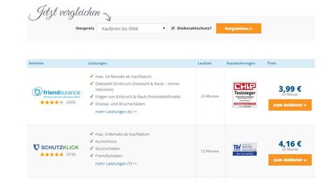Screenshot: Vergleichsrechner von handyversicherung-test.net